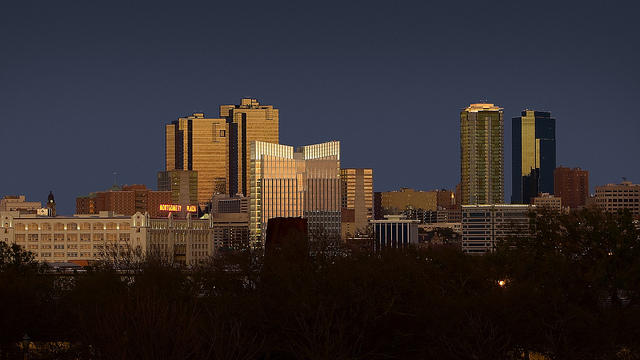 The Fort Worth skyline at sunset.