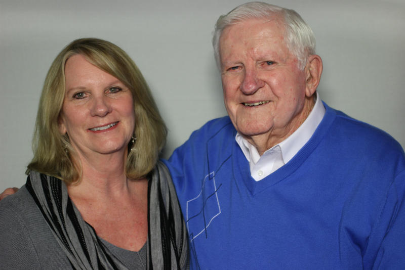 Judy Haven with her father, Phil George. George spent 36 years as a coach and athletic director at San Angelo Junior College, now Angelo State University.