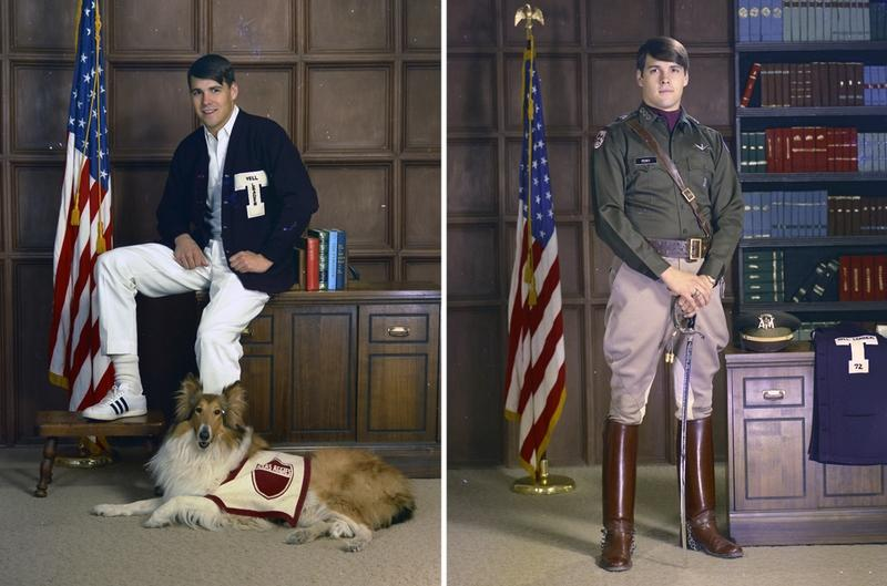 Rick Perry as a student and a cadet at Texas A&M University.