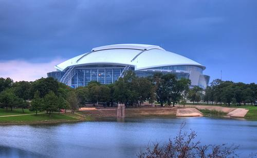 The AT&T Stadium in Arlington, home of the College Football Championship game tonight between Oregon and Ohio State