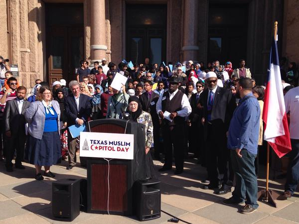 "Alia Salem, who leads the North Texas chapter of the Council on American-Islamic Affairs, told a crowd, ""You have to participate or this country will never represent you."""