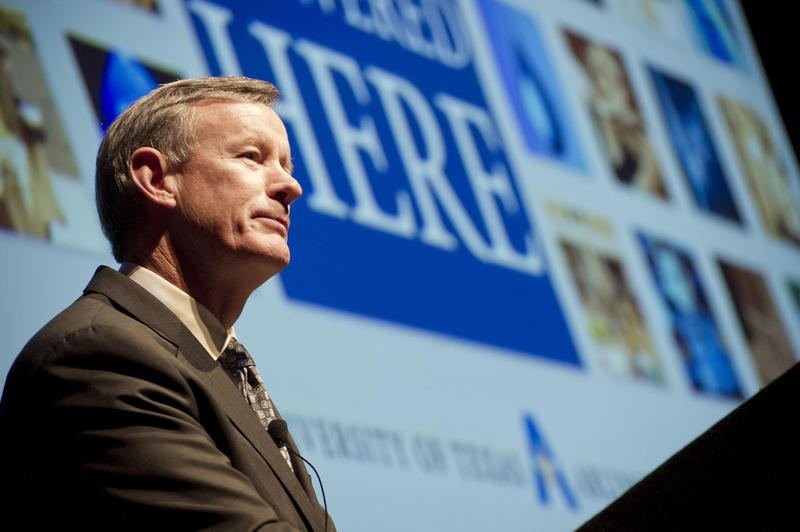 Retired Admiral William McRaven, chancellor of the UT system, speaking at UT Arlington