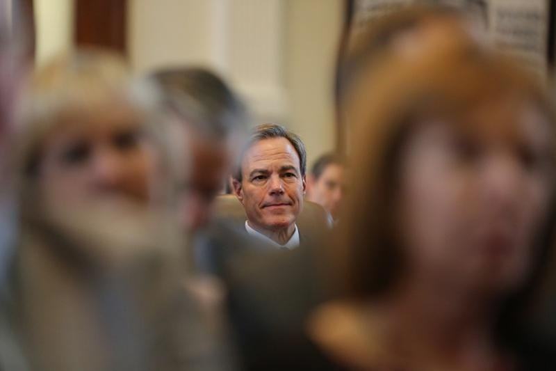 Rep. Joe Straus listens to a speech by a fellow member nominating him as speaker of the House.