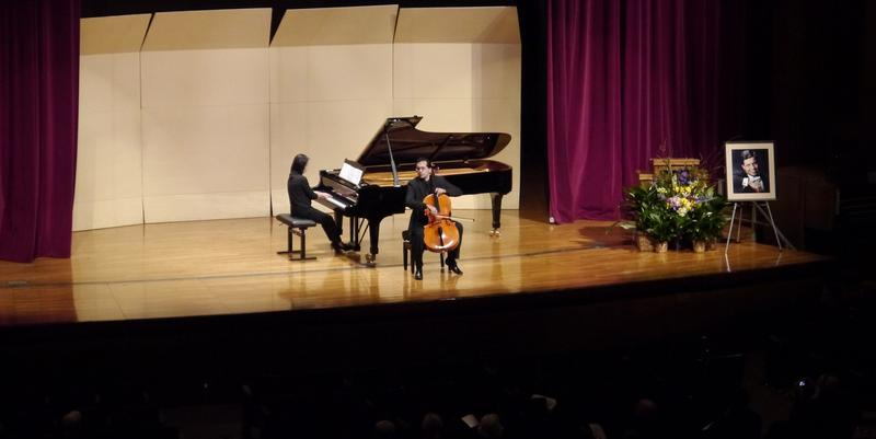 Gloria Lin (on piano) and Jésus Castro-Balbi (cellist) perform during a remembrance concert for José Feghali.