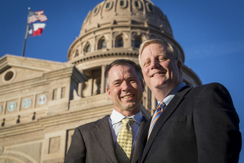 Victor Holmes, left, with his partner, Mark Phariss. The Plano couple challenged the constitutionality of the Texas ban on same-sex marriage as plaintiffs in a 2014 case.