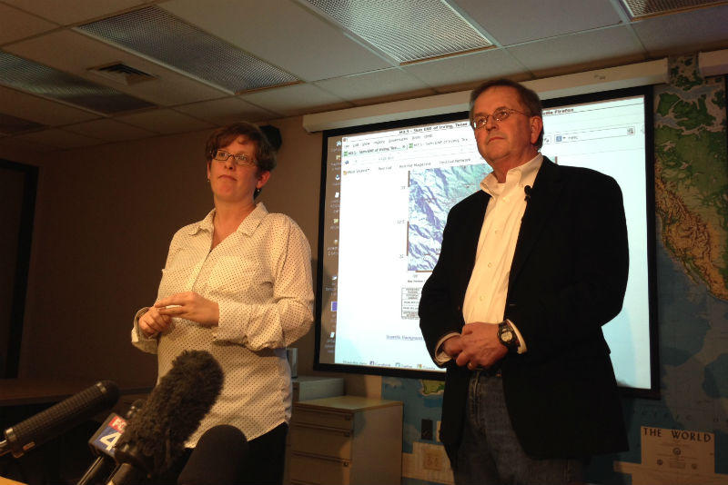 SMU seismologist Heather DeShon, left, addressed reporters Tuesday afternoon.