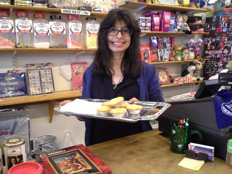 Sheela Kadam offers proper English fruit pies to customers at The British Emporium in Grapevine.