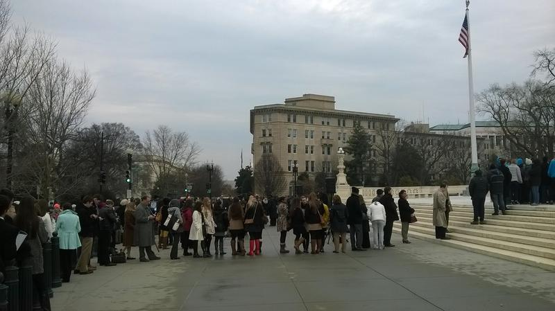 Visitors line up to enter the US Supreme Court.