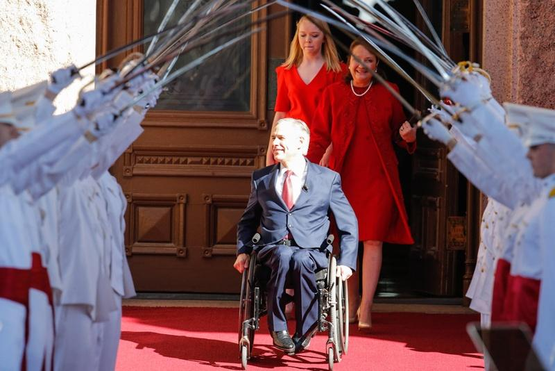 Gov. Abbott and his family, wife Cecilia and daughter Audrey, on Tuesday morning during his inauguration ceremony in Austin.