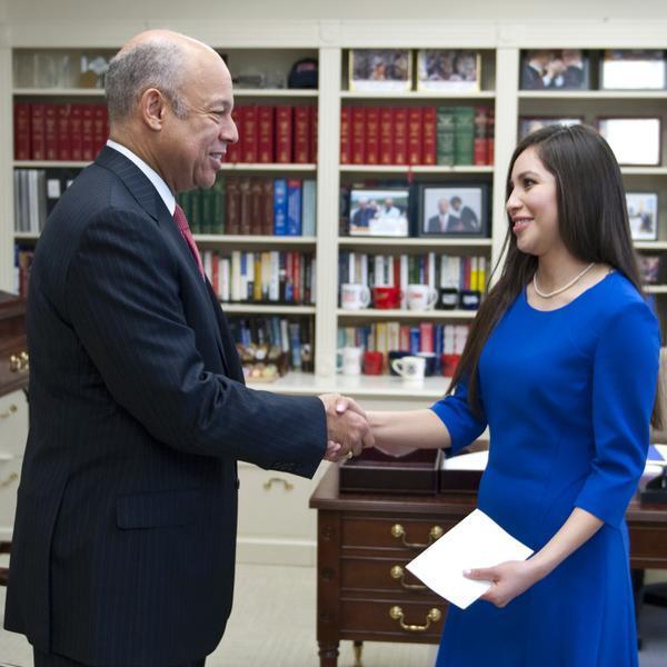 Ana Zamora (right) with Homeland Security Secretary Jeh Johnson