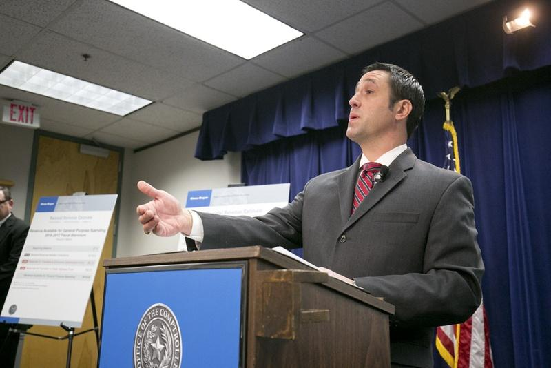 Comptroller Glenn Hegar announced the state's biennial revenue estimate on Monday.