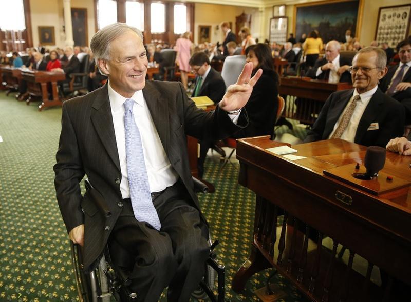 Greg Abbott visited the Senate chamber on Jan. 13.