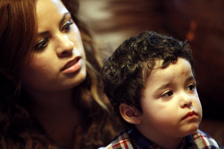 Elizabeth Madrid and her 2-year-old moved in with her parents after husband Isac died in February.