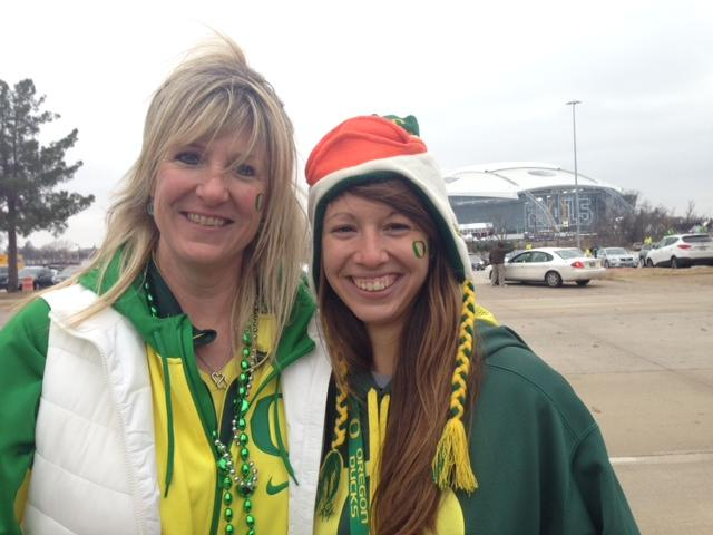 Kelly and her daughter Jordan are Austinites now but they used to live in Eugene and are diehard Duck fans.