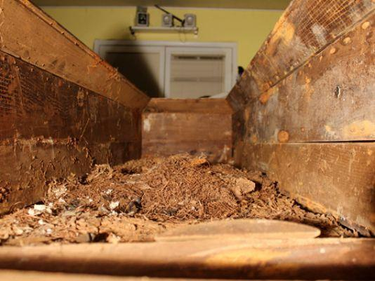 This is the original pine coffin used to bury Lee Harvey Oswald in 1963.