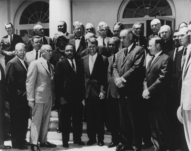 Farmer (top row, 3rd from left) at White House meeting of civil rights leaders