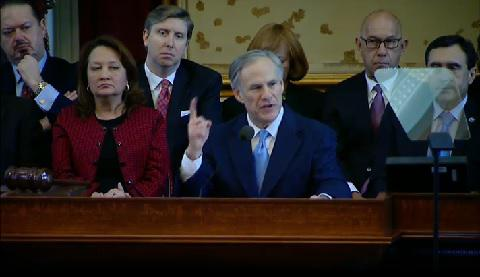 Gov. Greg Abbott gives his first State of the State address today in Austin.