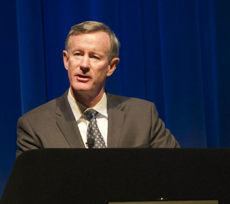 William McRaven during a recent visit at the University of Texas at Arlington.