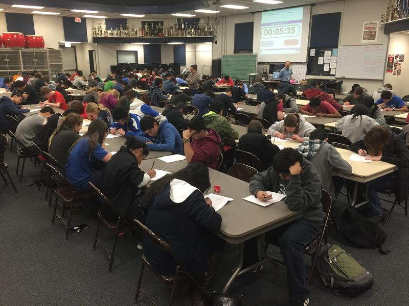 A math contest at Ryan High School, during a UIL practice meet.