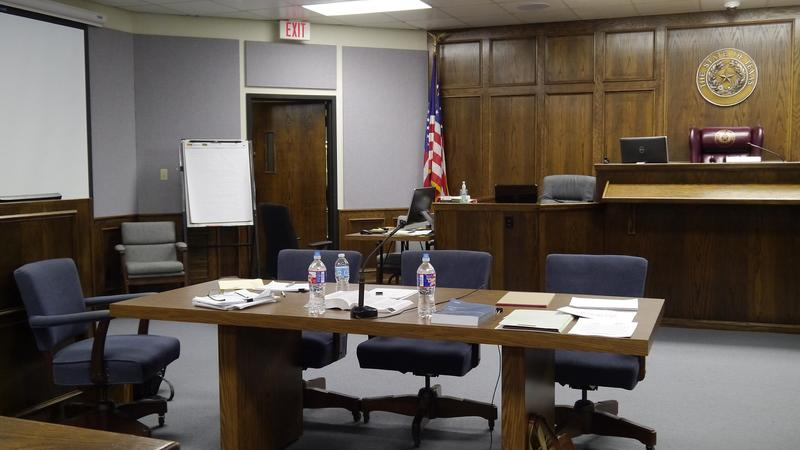 Defendant Eddie Ray Routh and his three attorneys sat at this table across from potential jurors.