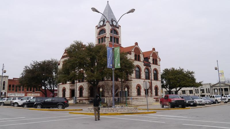 The townsquare in Stephenville, Texas, just blocks away from the Donald R. Jones Justice Center in Erath County.