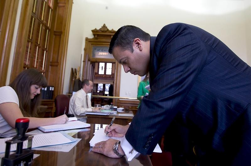 Rep. Jason Villalba R-Dallas, files the Protection of Texas Children Act on Feb. 6, 2013.