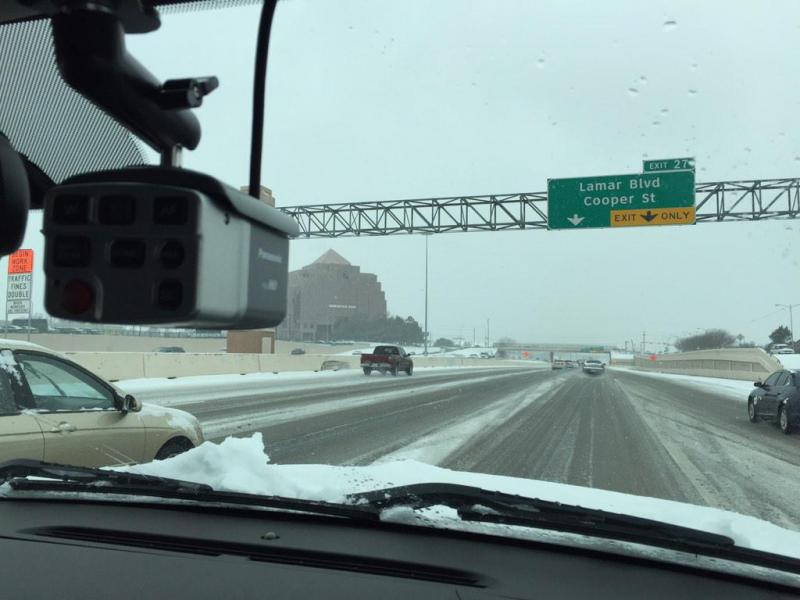 Traffic was slow on westbound Interstate 30 in Arlington midday Friday.