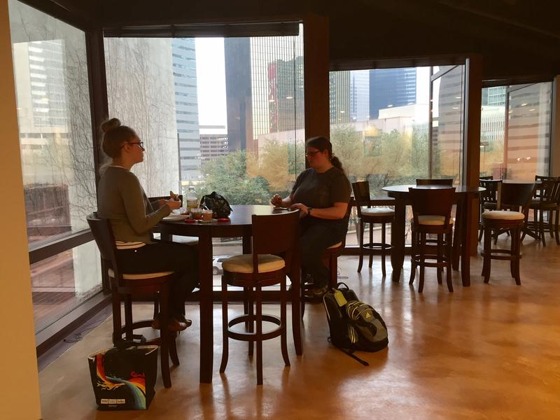 The expanded Texas A&M University Commerce at 1910 Pacific Place has a dining/lounge area for students that looks out to downtown Dallas. Students say they welcome all of the windows and natural light.