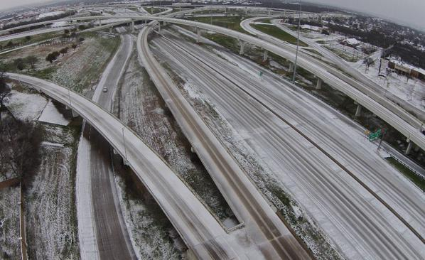 Highways were icy but clear of traffic Monday morning in Fort Worth.