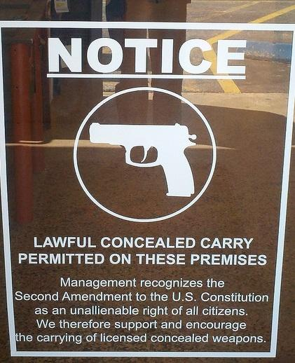 This sign is posted outside a business in Harris County.