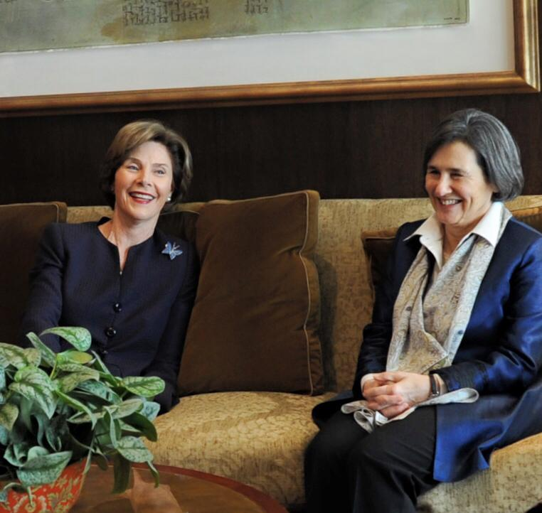 Rula Ghani, the first lady of Afghanistan, visited with former first lady Laura Bush Wednesday at the George W. Bush Presidential Center.