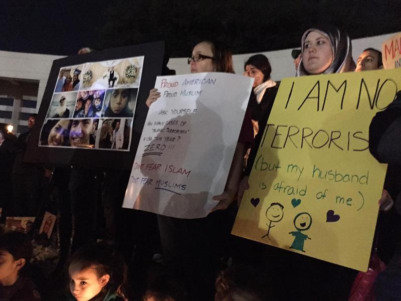 A group of Muslim men, women and children demonstrated at Dealey Plaza on Friday.