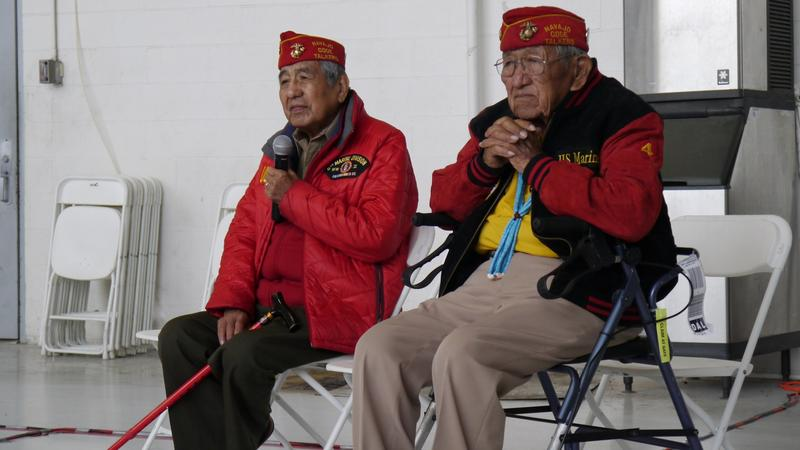 Navajo Code Talkers talk with Marines, sailors, soldiers and airmen at NAS Fort Worth JRB.
