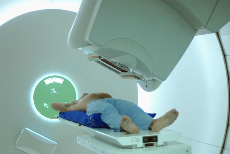 A proton therapy room.