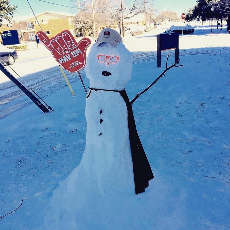 A snowman -- one of many -- in North Texas Thursday. This one was spotted at UT-Arlington.