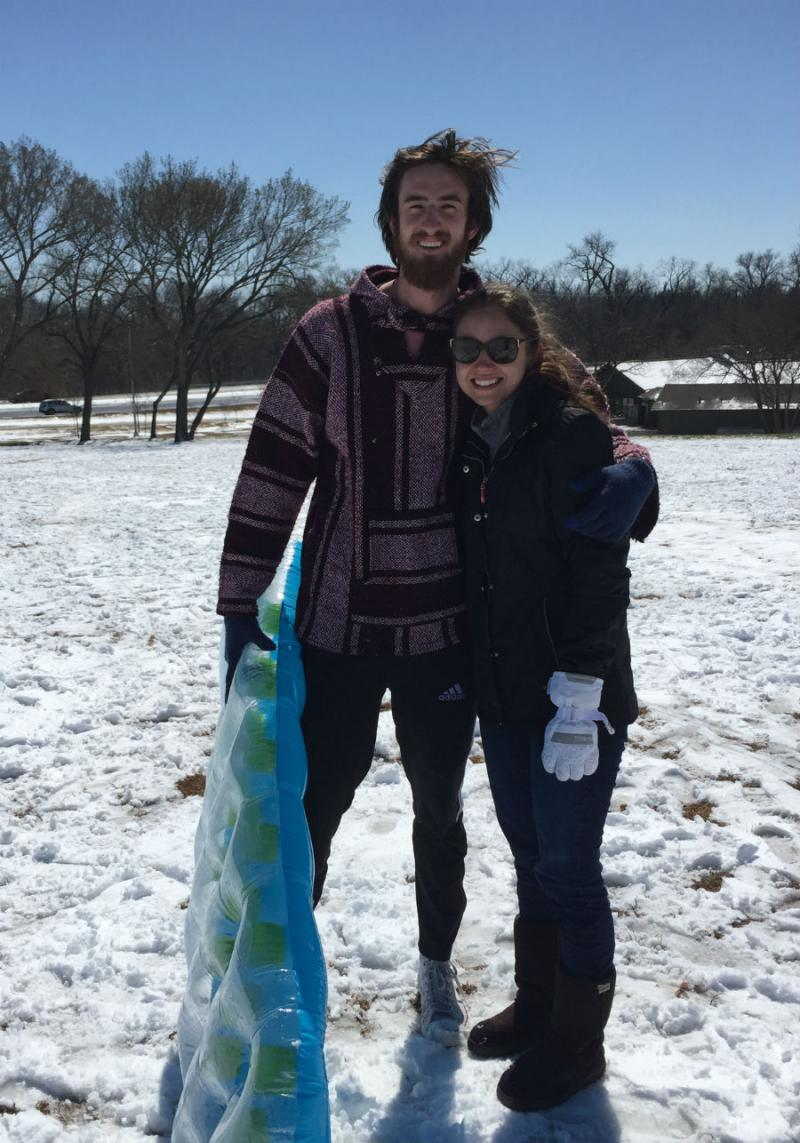 Nicholas Miller and Kristina Hartreaves at Flag Pole Hill in Dallas.