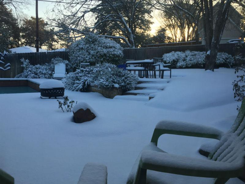 The snow is piled high in Oak Cliff Thursday morning.