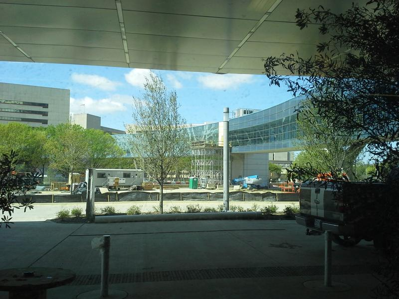 The skybridge connecting the old and new Parkland hospitals. View is from the new Parkland emergency room.