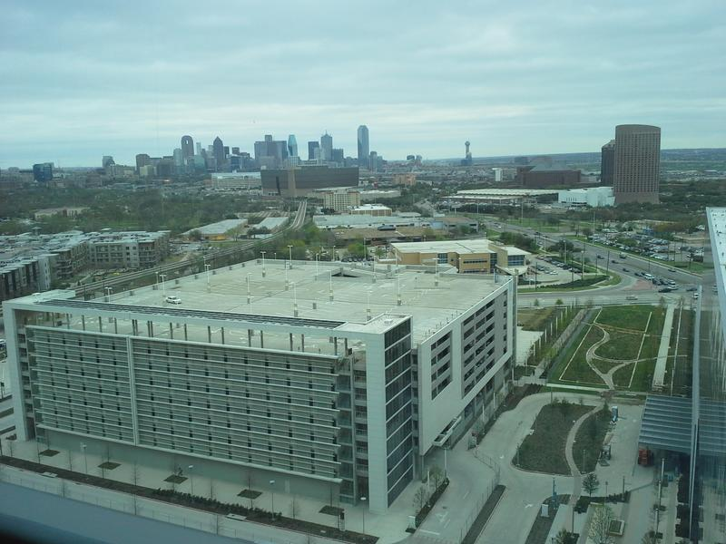 The view from a 12th floor room of the New Parkland.  All rooms have a downtown Dallas view.