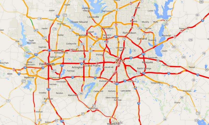Traffic conditions in Dallas-Fort Worth as of 8:54 a.m. Thursday.