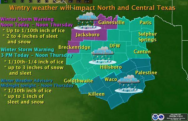 Dallas-Fort Worth could see up to three inches of snow and sleet -- with more expected in counties northwest of D/FW, the National Weather Service says.