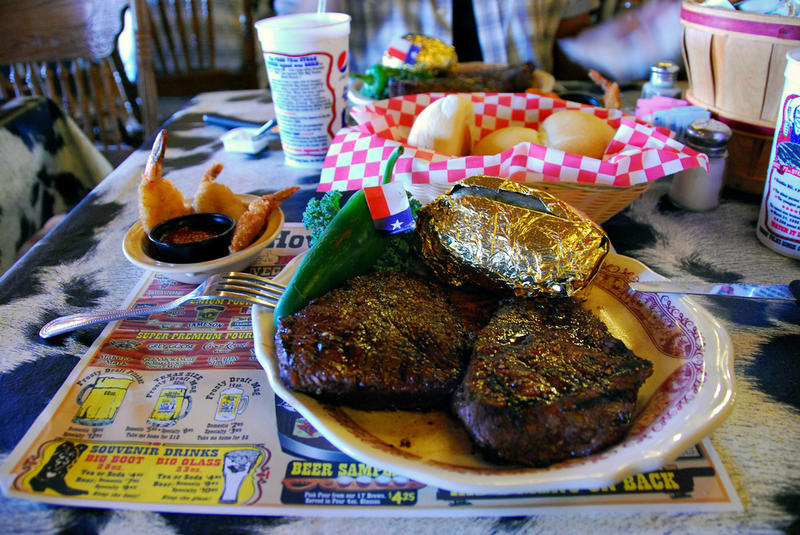 That's a lot of food. A steak dinner at the Big Texan Steak Ranch in Amarillo.