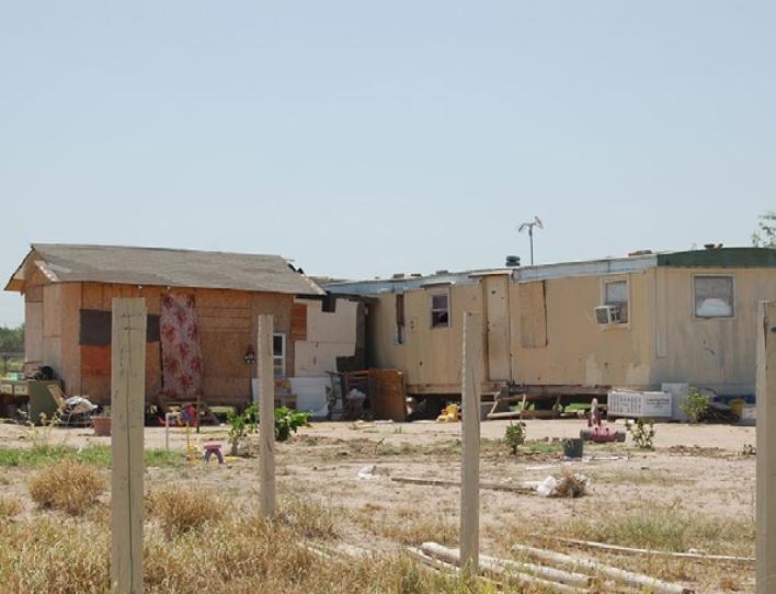 A typical colonia dwelling along the Texas-Mexico border.