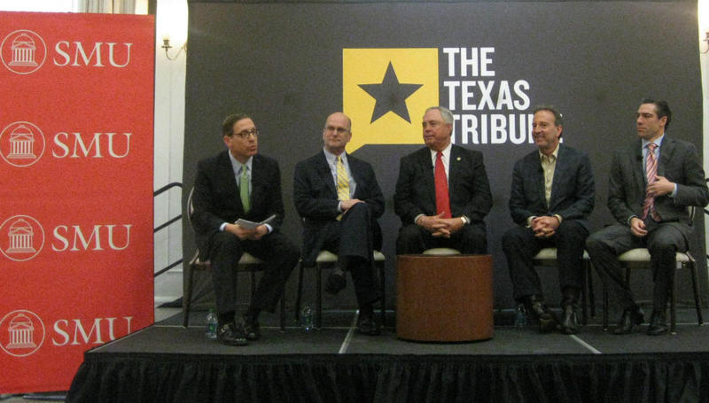 The Texas Tribune and SMU sponsored the panel on energy in Texas over  the next five years. L-r Evan Smith, Tx Tribune, Bruce Bullock, SMU, Drew Darby, State Rep., Tony Garza, former Railroad Commissioner Chair, Morgan Meyer, State Rep.