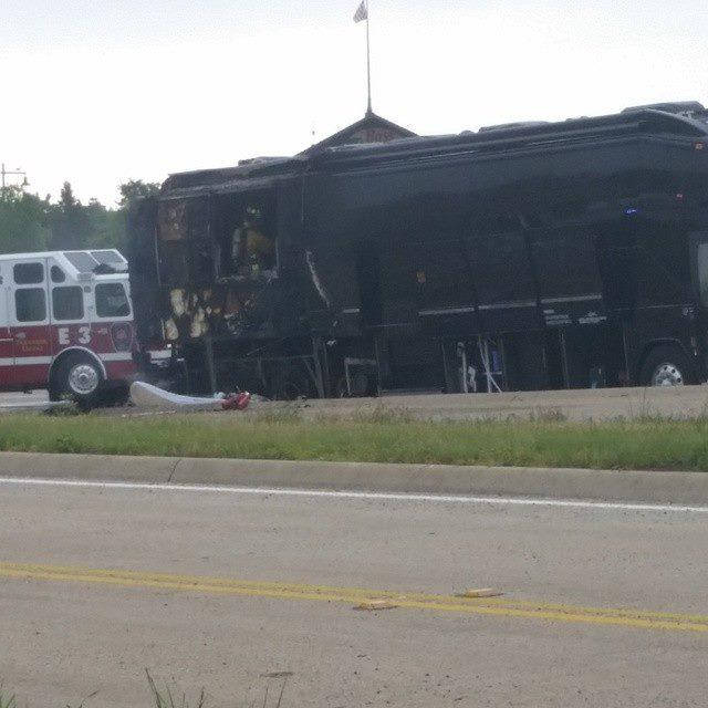 A tour bus for superstar country group Lady Antebellum has caught fire along an interstate near Dallas, but no one was injured.