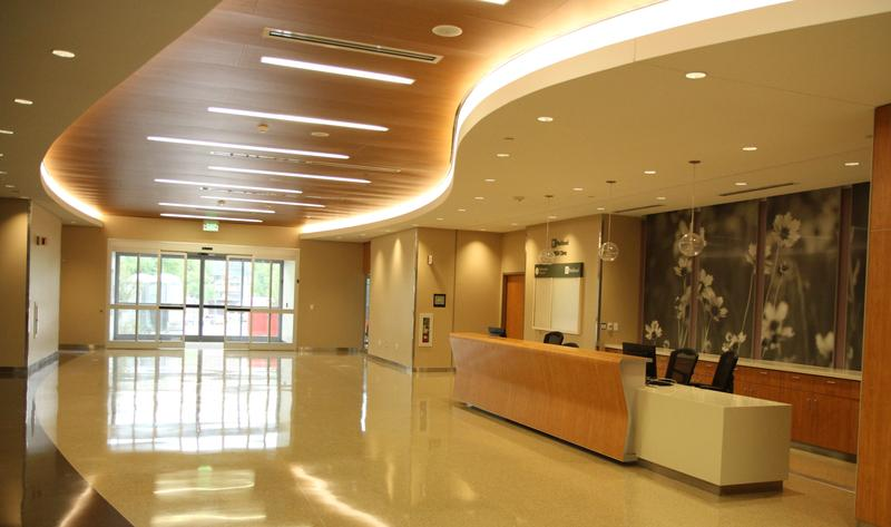The front lobby at Parkland Women's and Infants' Specialty Health unit (WISH). The facility will open in August.