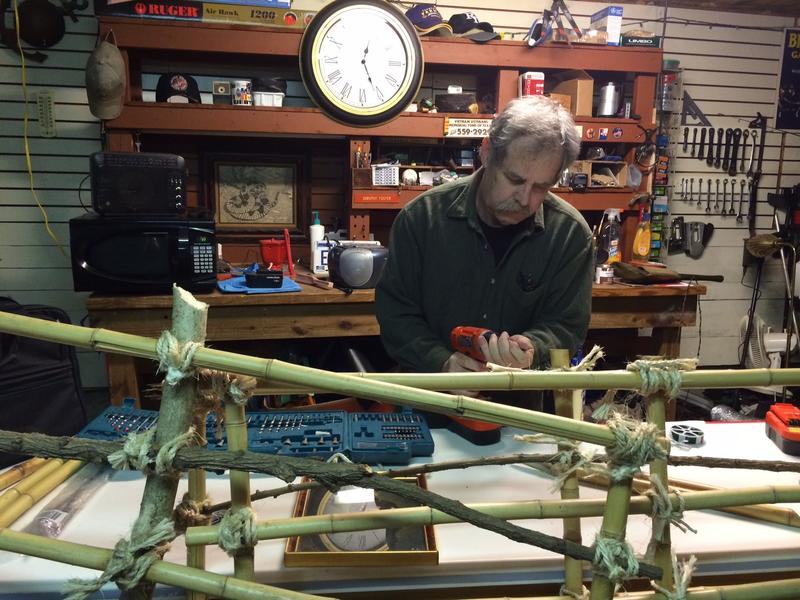 R.D. Foster works on a Tiger Cage replica for the Collin County Historical Society and Museum.