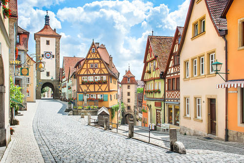 A view of the historic town of Rothenburg ob der Tauber, Franconia, Bavaria, Germany