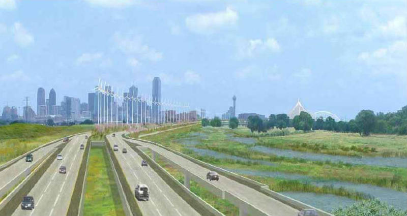 Rendering of proposed Trinity Parkway, a planned toll road inside the river levees and above the proposed Trinity River parks and trails.