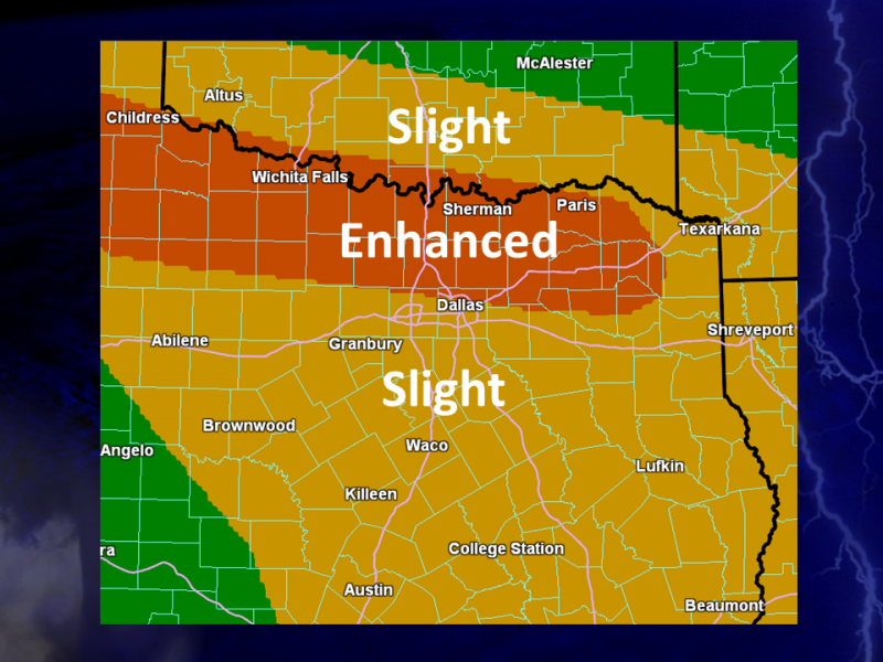 Here's a look at the chance for storms in North Texas, according to the National Weather Service.